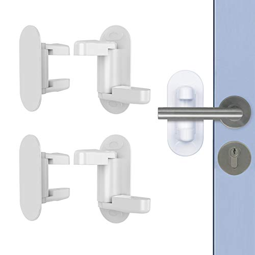 MHwan Kindersicherung Fenster, Babyschloss Tür, 3M selbstklebende Türhebelverriegelung Sicherheit ABS-Verriegelung Türgriff, um zu verhindern, dass sich das Kind öffnet, 4 Stück, 12x7cm