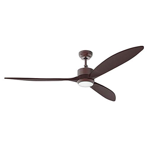 """reiga 65"""" Solid Wood DC Motor Ceiling Fan with Dimming and Color Temperature Adjustment, Wifi App Remote Control, 6-speed, Oil-Coated Bronze"""