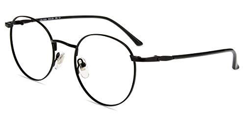 Firmoo Gafas Luz Azul para Mujer Hombre, Gafas Filtro Antifatiga Anti-luz Azul y contra UV400 Ordenador Gaming PC de Gafas Montura de Metal Moda, Y1230 Negro
