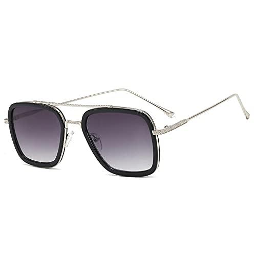 XINMAN Caja Personalizada Sombrilla Gafas De Sol Retro Gafas Anti-Ultravioleta Tendencia De La Moda Gafas Planas Marco Plateado Negro Doble Película Gris