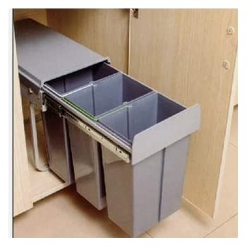 con 2 Compartimentos Cubo de Basura Cocina Reciclaje 30 Litros Bote de Basura Clasificaci/ón de Tipo de Extracci/ón del Gabinete de Cocina 2x15L