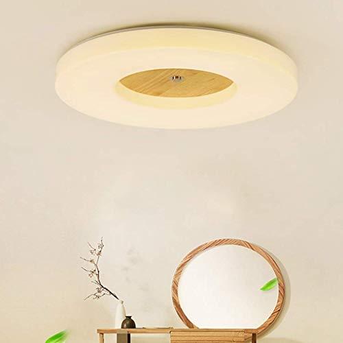 DEJ dimbare houten plafondlamp in de stijl van een creatieve plafondlamp woonkamer slaapkamer slaapkamer slaapkamer studio afstandsbediening acryl lampenkap 48 cm H8 cm 30 W