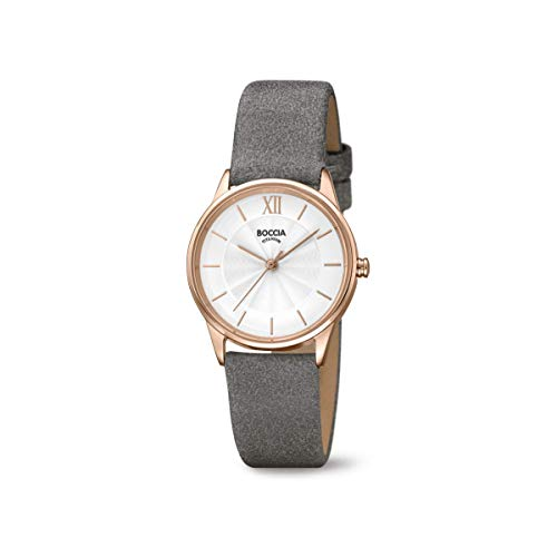 Boccia Damen Analog Quarz Uhr mit Leder Armband 3282-03