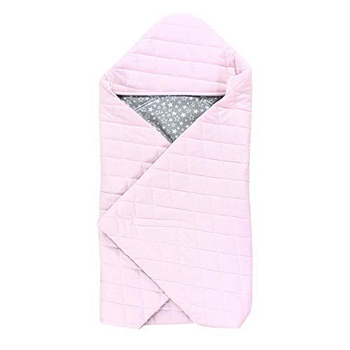 TupTam Baby Einschlagdecke für Babyschale - Sommer, Farbe: Sternchen Grau/Rosa, Größe: ca. 75 x 75 cm