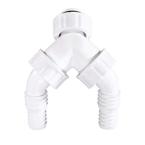 Xavax 00110221 Geräteanschluss Unterputz Doppel-Geräteanschlusstülle mit Rückflussverhinderer, weiß