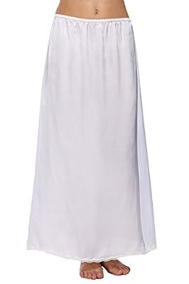 Avidlove Women Lingerie Slips Satin Snip-it Half Slip Lace Underskirt Long White, Style1-White (FBA), Medium