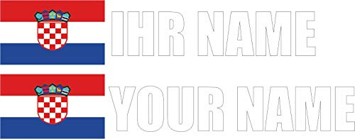 INDIGOS - Aufkleber - Kroatien - Schrift weiß - Folie - Auto, Ordner, Motorrad, Fahrrad, Wand, Tür, Kühlschrank usw - 90x18 mm - Flagge Name individuell personalisiert