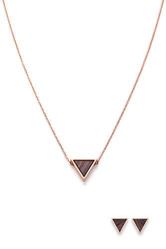 Kerbholz Holzschmuck – Schmuckset Triangle Roségold, Geometrics Collection, Damen Halskette mit Anhänger aus Naturholz + hochwertige Dreieck Ohrringe mit Holz