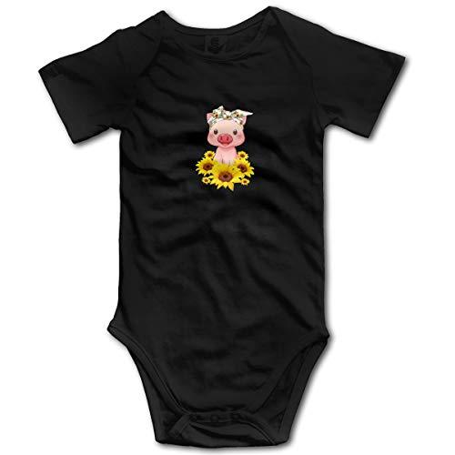Nuwcense Pink Pig Body à Manches Courtes pour bébé garçon Motif tournesols - Noir - 2 Ans