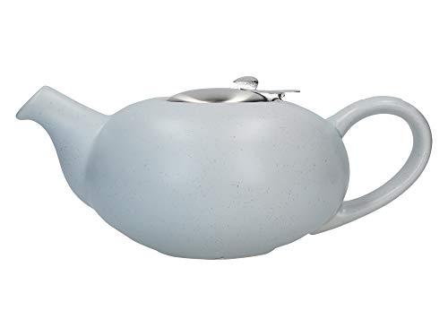 London Pottery Pebble Teekanne mit Teesieb für losen Tee, Steingut, Hellblau meliert, 4-Cup Teapot (1 Litre)