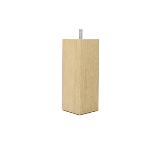 La Fabrique de Pieds Jeu de 4 Pieds de Lit, Bois, Verni Clair, 15 x 5,5 x 5,5 cm