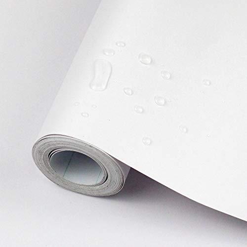 Freshtour Selbstklebende Klebefolie Möbel, PVC Verdickte Tapete Weiß Matt, Selbstklebende Möbelfolie Wasserdicht, 40 x 300cm, Dekofolie für Wand, Schrank, Arbeitsplatte, Tische