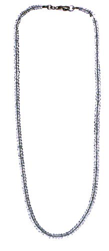 Blautopas Kette facettiert Topas blau 925er Silberverschluss, blaue Edeltopas Halskette