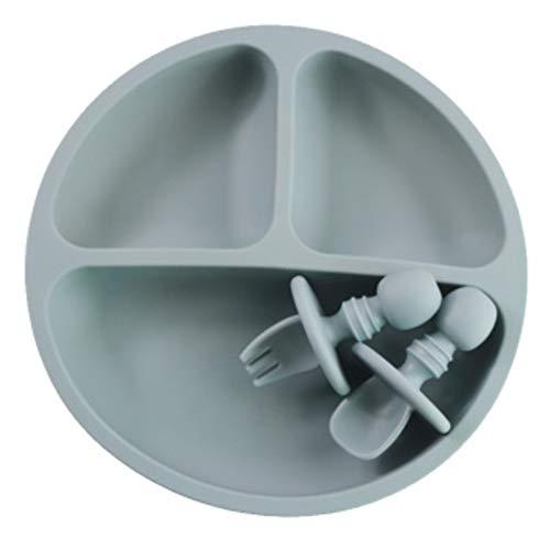 HEYB Plato de silicona para bebé, agarre con ventosa, platos seguros para microondas para niños pequeños y niños con tenedor y cuchara (3 piezas)