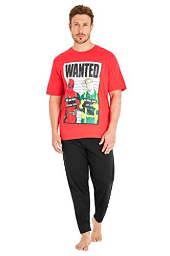 Marvel Deadpool Schlafanzug Herren, Pyjama Lang 100% Baumwolle Pyjama Set Herren und Teenager Jungen (L, Rot)
