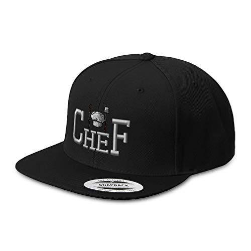 Snapback Hats for Men & Women Chef Cooking Cook A Embroidery Acrylic Flat Bill Baseball Cap Black