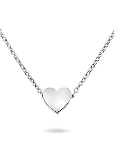 Nuoli Silberkette Damen Herz (45 cm) Halsketten für Frauen, Filigrane Kette mit Anhänger, Freundschaftskette, Glücksbringer als Geschenk