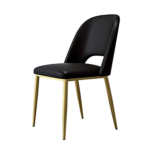 DX Light Lounge Chair PU Leather Fabric Armless Seating Hollow Back Ergonomic Dining Room Chair for Living Room Restaurant Black