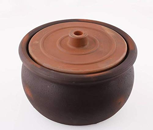 Avanos Unglazed Earthenware Clay Cooking Pot, Terracotta Cookware Large Size 10 inches