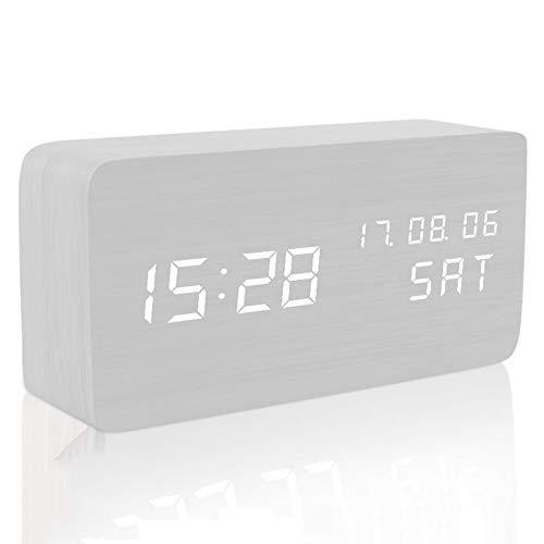 WH-IOE Réveil pour chambre Horloge en bois LED Light Mini Cube Réveils analogiques numériques Cadeau du Festival (Size : 15 x 4 x 7 cm Couleur : blanc)