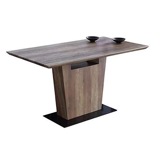 Adec - Century, Mesa de Comedor Extensible, Mesa de Salon Comedor DM/Papel Laminado y pie metalico...