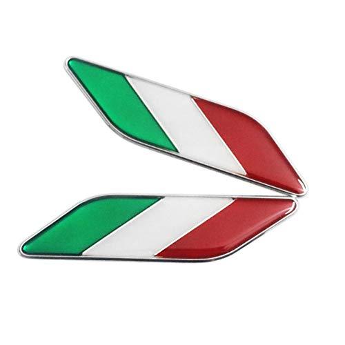 2 stücke Aluminium Italienische Flagge Emblem Parallelogramm Form Aufkleber Grafik Abziehbilder Für Fahrzeug Motor Auto Kotflügel Seitenschweller Kofferraum Boot Heckklappe Stoßfänger Türschutzfenster