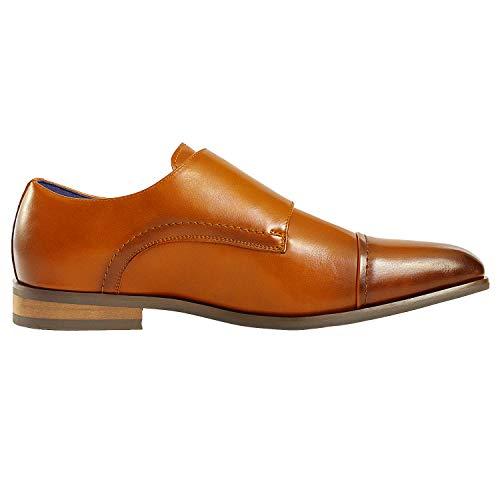 Bruno Marc Men's Dress Loafer Shoes Monk Strap Slip On Loafers Camel Size 8.5 M US Hutchingson_2