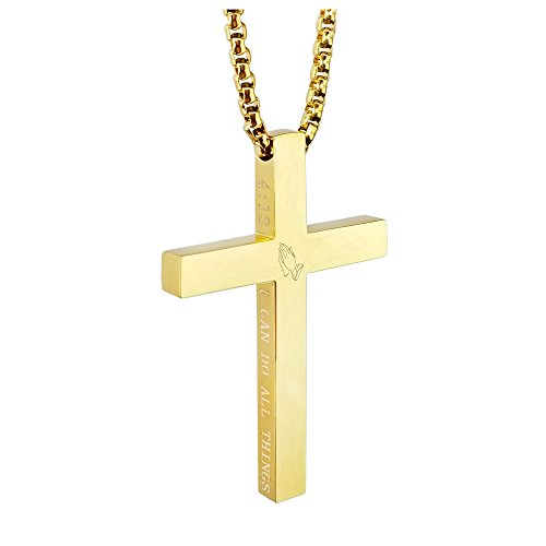 KouGeMou Cross Necklace Gold Stainless Steel Necklace Religious Bible Verse Pendant Crucifix Necklace Faith Jewelry with 23' Chain
