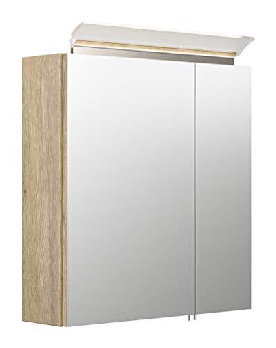 emotion Spiegelschrank 60cm inkl. Design LED-Lampe und Glasböden Eiche hell