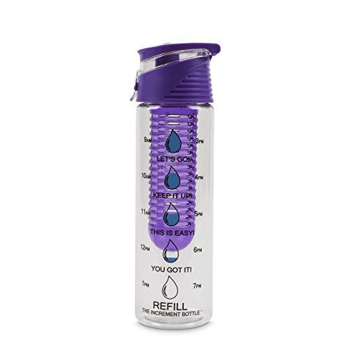 The Increment Bottle Flip cap Infuser Borraccia, Tritan, Viola, 750 ml