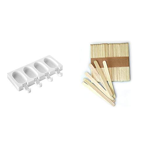 Silikomart GEL01MB MINI CLASSIC - Mini moldes de congelador para helados y aperitivos (silicona, se incluyen 50 soportes de madera), diseño ovalado + Kit de 100 palitos de madera 72 x 8 x 2 mm