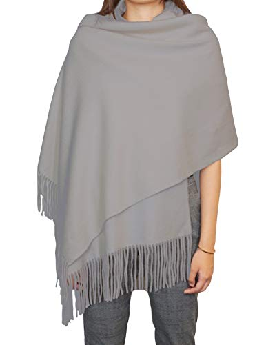 """State Cashmere Solid Color Fringe Shawl 100% Cashmere Oversized Wrap Scarf 28"""" x 76"""" + 4"""" x 2 (Pale Charcoal)"""