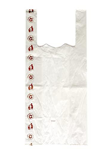 PAMPOLS 100 Bolsas Camiseta de Plástico Biodegradable y Compostables Transparentes   Aptas para transportar cualquier tipo de producto   35x50 cm con Espesor de 90 galgas