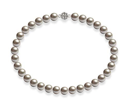 Schmuckwilli Damen Muschelkernperlen Perlenkette Silber Magnetverschluß echte Muschel 45cm dmk2010-45 (12mm)