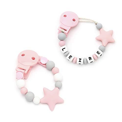 mami me mima Pack Regalo Original Chupetero Personalizado con Nombre y chupetero Star Sweet Pink | Silicona Antibacteriana | CERTIFICADO | Envío Urgente 24/48H