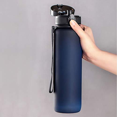 Outdoor Sportflasche aus Sport Cup Fitness Kunststoff Kessel Gerade Cup großer Kapazitäts-Sport-Wasser-Cup beweglichen im Freien Kessel Anti-Sturz-Cup 1000ml Versiegelt Auslaufsicher Wasserflasche