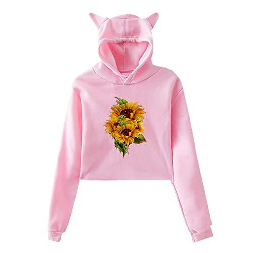 Sudadera con capucha para mujeres y niñas, estilo informal, con orejas de gato, manga larga, súper suave, tamaño cálido, se adapta a todos los suéteres, primavera, otoño, girasol, negro