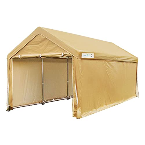 Quictent 10'x20' Carport Heavy Duty Car Canopy Galvanized Car Shelter with Reinforced Steel Cables and Ground Bars-Beige