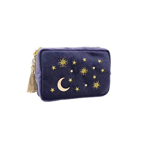 Tendycoco make-up tas met maanster, geborduurd, veelzijdig inzetbaar, rechthoekig, draagbaar, make-up tas