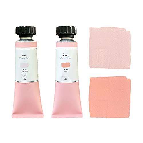 SUI Gouache | Peach Duo | Matte Pastel Watercolor Gouche Paints | 15ml*2 Tubes Set | Art Color Palette Craft by Best Artist | Professional Artists Painting Supplies Water Coloring Paint Kit… (Peach Duo)