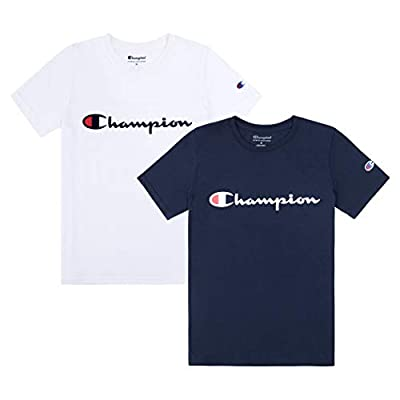Champion Heritage Boys 2 Pack Logo Tee Shirt Top Sets Kids Clothes (White/Navy Script, X-Large)