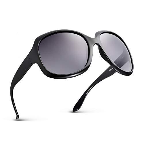 Effnny Gafas de sol polarizadas para mujeres, protección UV, Lentes de sol espejadas 3113 (Negro)