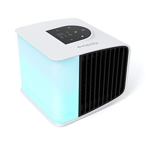 Evapolar evaSMART - Enfriador de aire y Humidificador - Ventilador de Refrigeración Portátil con Control de Aplicaciones Inteligentes y Alexa - Colorida Retroiluminación LED - Blanco (EV-3000)