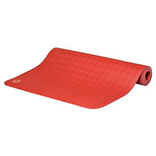 BODHI extrem rutschfeste Yogamatte ECOPRO aus 100% Natur-Kautschuk (185x60cm, 4mm stark, 1,6kg), schadstofffrei für Yoga, Pilates & Fitness, rot