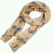 Fancy Zebra stampa morbido celebrità sciarpa animale grande lungo scialle New Gift Lady (beige)
