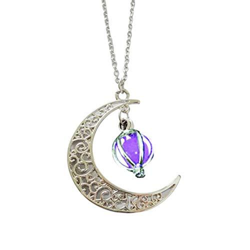 YSHtanj Collar Suministros de Halloween Collar Mujer Moda Hueco Luna Birdcage Colgante Luminoso Brillo Cadena Collar Joyería - Púrpura