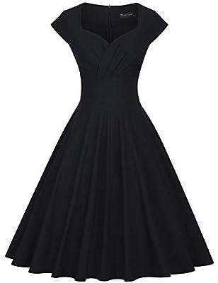 GownTown Womens Dresses Party Dresses 1950s Vintage Dresses Swing Stretchy Dresses, Black, X-Large
