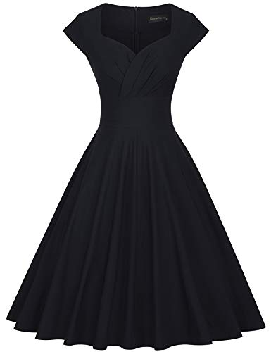 GownTown Womens Dresses Party Dresses 1950s Vintage Dresses Swing Stretchy Dresses, Black, Small