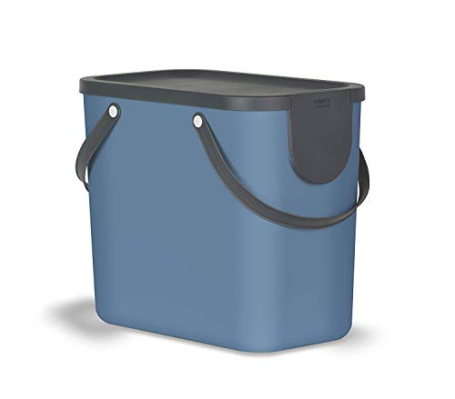 Rotho Albula Mülltrennungssystem 25l für die Küche, Kunststoff (PP) BPA-frei, blau/anthrazit, 25l (40,0 x 23,5 x 34,0 cm)