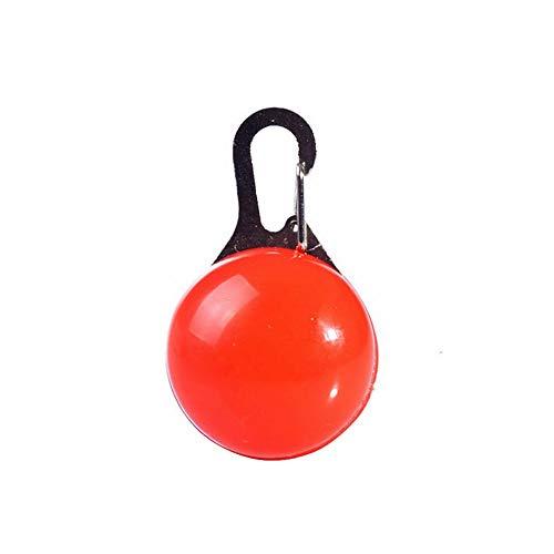 NorCWulT Red Dog Clip-On Collar de luz LED a Prueba de Golpes Pendiente Redondo de Seguridad de la luz Intermitente para Cat Cachorro Animales Noche Camping Caminar